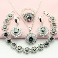 Silver Plated Jewelry Sets Rainbow Stone Multicolor For Women Trinket Drop Earrings/Bracelet/Necklace/Pendant/Ring Free Gift Box
