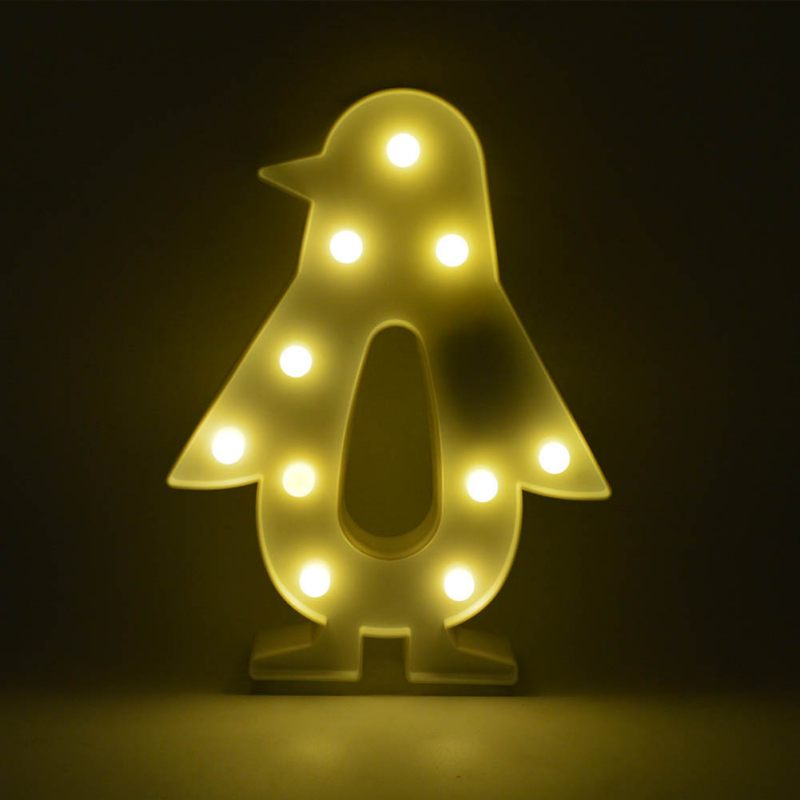 Lovely Penguin LED Night Light 3D Marquee Standing Animal LED Battery Operated Desk Tabl ...