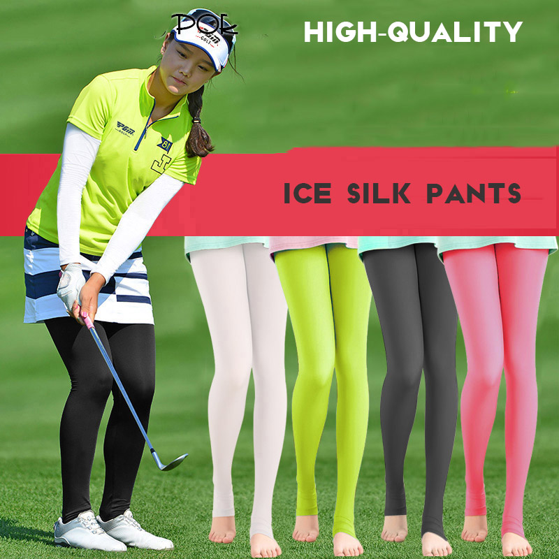 Áttetsző elasztikus lábak harisnya Női fényvédő nadrágtartó Golf kültéri nadrág UV-ellenálló fény vékony sima hosszú lábak Zokni