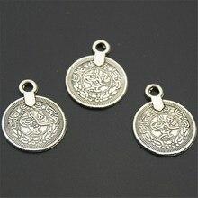 30 шт. антикварная серебряная монета в форме круглого шарма резная фигура Подвески DIY Ожерелье Изготовление ювелирных изделий A2248