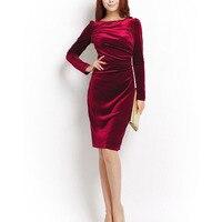 Velvet Dress Autumn Winter Women Long Sleeve Sheath Casual Party Dresses Elegant Bodycon Office Female Dress