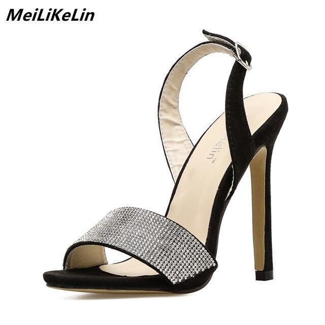 9e7262aba54e Designer Shoes Women 2018 Luxury Rhinestone High sandals Back Strap Sandals  Lady Elegant Shiny Wedding Pumps