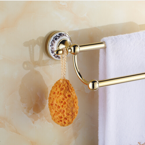 New Arrivals Double Towel Bar Gold Porcelain Towel Holder Wall Mounted Bathroom Accessories Towel Rack aluminum wall mounted square antique brass bath towel rack active bathroom towel holder double towel shelf bathroom accessories