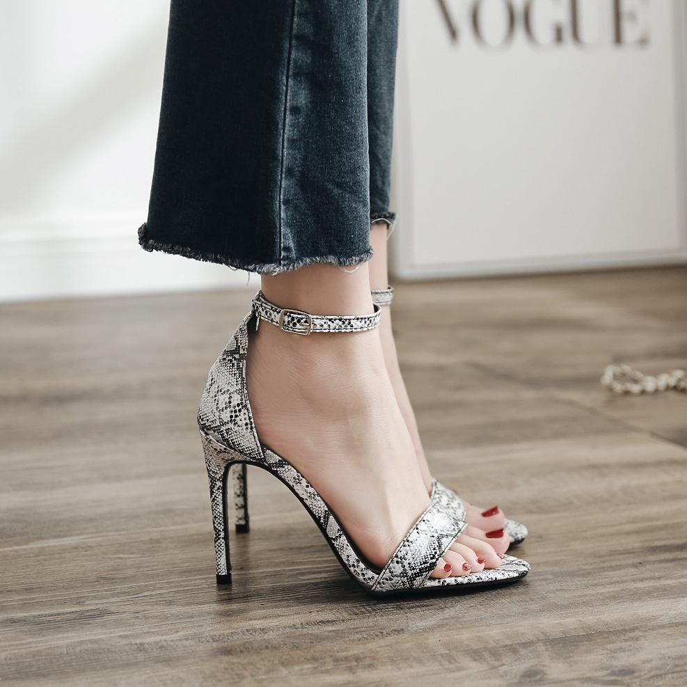 Shoes Learned Poadisfoo 2019 New Summer New Ladies Sexy High Heel Sandals Snake Pattern Simple Word Buckle Zl-6918-30 Numerous In Variety