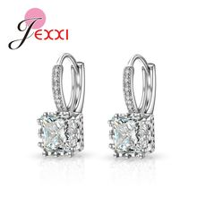Real Silver Huggie Lever Back Earrings Luxury Shiny 2 Carat CZ Crystal Cubic Zircon Hot Sale Women Jewelry(China)