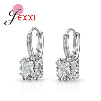 Real   Silver Huggie Lever Back Earrings Luxury Shiny 2 Carat CZ Crystal Cubic Zircon Hot Sale Women Jewelry