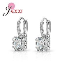 Real Silver Huggie Lever Back Earrings Luxury Shiny 2 Carat CZ Crystal Cubic Zircon Hot