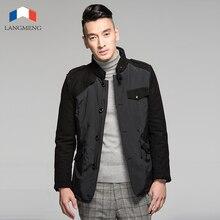Langmeng 2015 новый мужской зимняя куртка пальто новый мужской теплый сплайсинга куртки мода slim fit мужской регулярный пиджаки марка качество