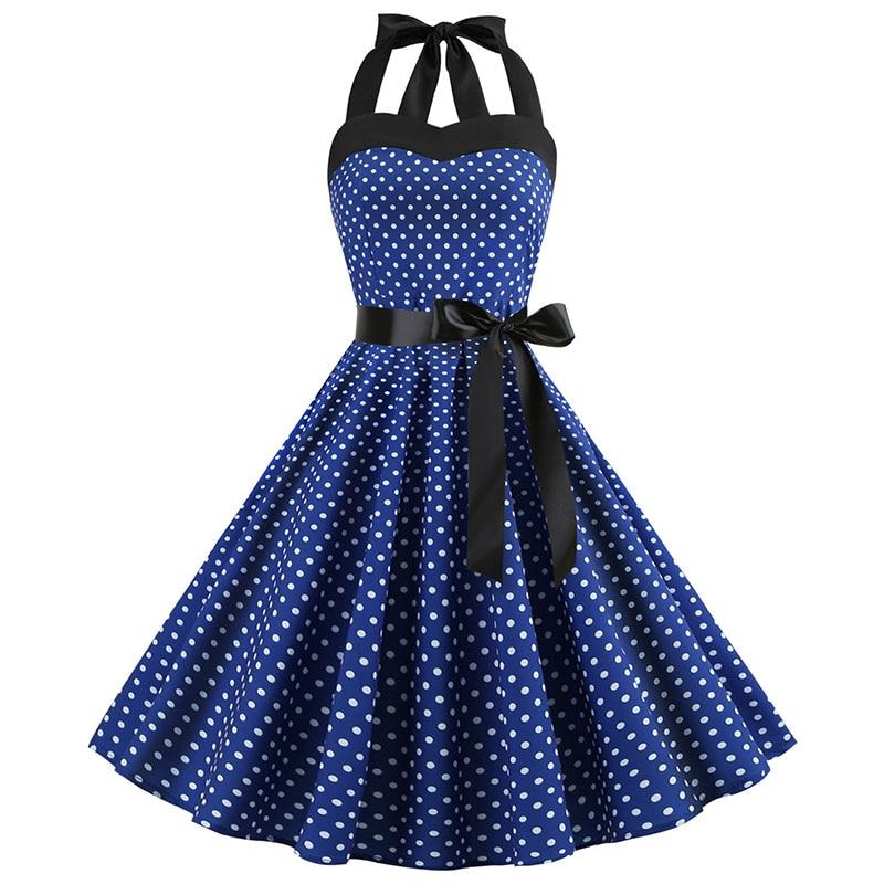 Sexy Halter Party Dress Retro Polka Dot Hepburn Vintage 50s 60s Pin Up Rockabilly Dresses Robe Plus Size Elegant Midi Dress 14