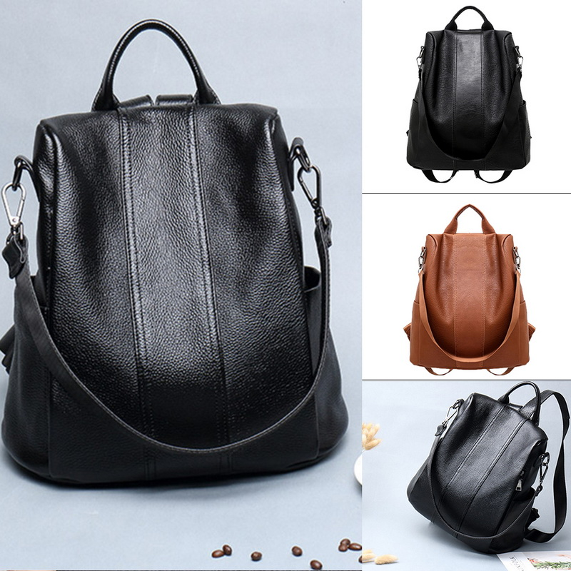 Women Backpacks Anti-theft PU Leather Backpack Female Double Shoulder School Bag Travel Shoulder Bags Rucksack Lady Packsack
