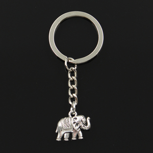 Fashion 30mm Key Ring Metal Key Chain Keychain Jewelry Antique Silver Color Plated Thailand Elephant 16x20mm Pendant(China)