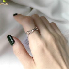 Flyleaf 925 Sterling Silver Rings For Women Cross Line Concave Surface Simple Femme Fashion Fine Jewelry Open Ring High Quality flyleaf 925 sterling silver rings for women high quality simple cross weave fashion open ring vintage femme fine jewelry gif