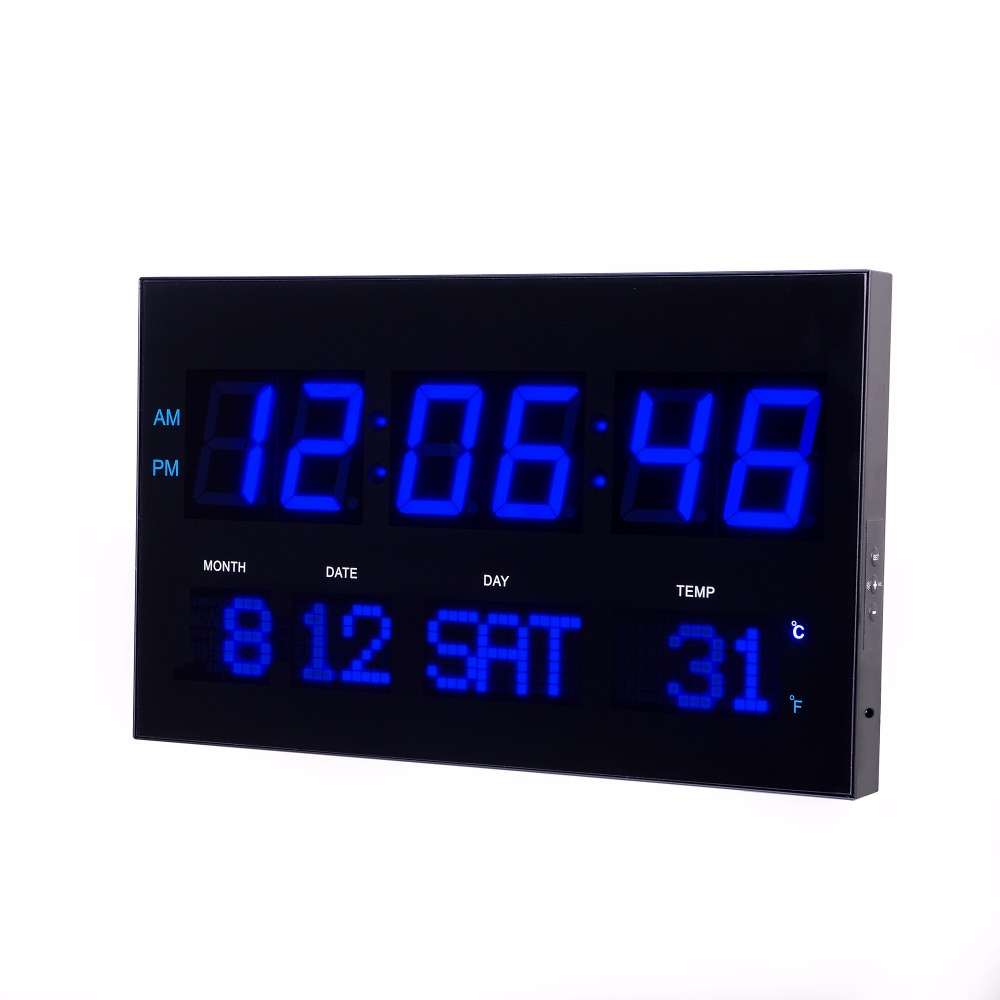 digital Thermometer clock electronic wave movement clock Living room large LED wall clock with adjust brightness modern home