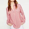 2016 Women Fashion Women Red White Striped Shirt Blouse Turn-down Collar Chest two Pockes Long Sleeved Cuff With Button ForWomen