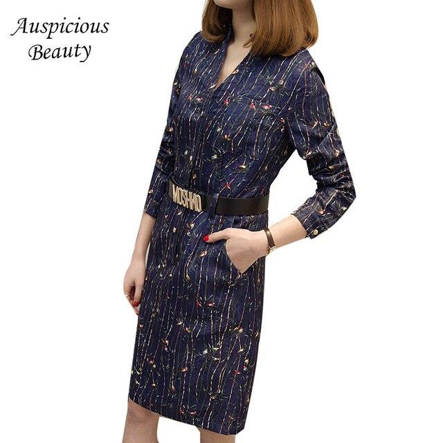 2018 Women Dress Plus Size Sexy Deep V-Neck Long Sleeve Print Bodycon Club Sheath Loose Ladies Party Dresses With A Belt SUN203