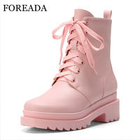 FOREADA Natural Leather Motorcyle Boots Winter Platform Thick Heel Ankle Boots Lace Up Martin Boots Autumn Shoes Pink White 41