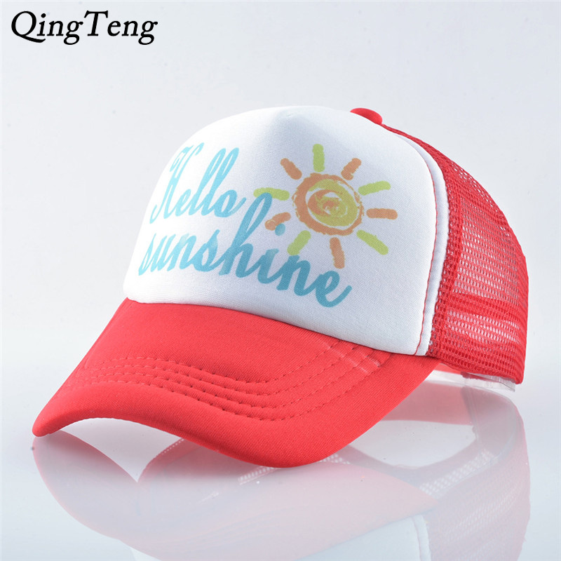Hello Sunshine Print Pattern Kids Baseball Cap Summer Mesh Children Visor Sun Hat Casual Boys And Girls Snapback Trucker Caps