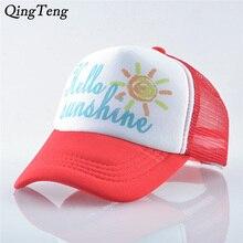 Hello Sunshine Print Pattern Kids Baseball Cap Summer Mesh Children Visor Sun Hat Casual Boys And Girls Snapback Trucker Caps