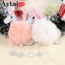 Aytai Christmas Unicorns Ornaments Party DIY Supplies Faux Rabbit Fur Ball Pom Pom Horse Cute Christmas Tree Decorations