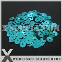 5mm Round Flat Loose Sequin For Shoe Bag Clothing Sky Blue Metallic Bulk Wholesale