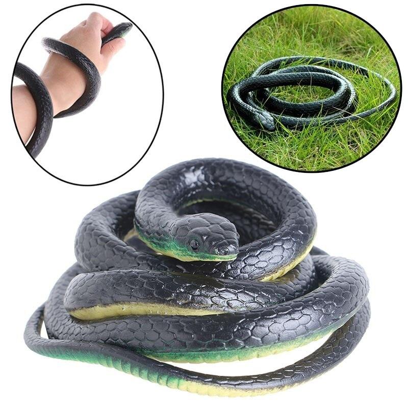 130cm Tricky Toy Realistic Fake Snakes Rubber Garden Props Joke Prank Horror Snake Spoof Toy Gift M09
