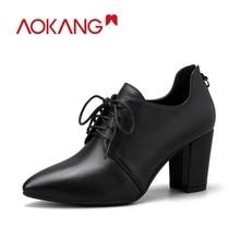 Купить с кэшбэком AOKANG 2018 New Arrival Autumn women shoes genuine leather shoes women fashion comfortable high heels boots women