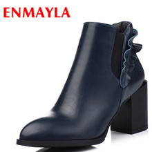 ENMAYLA 2 Colors Black Blue Shoes Woman Charm Ankle Boots for Women High Heels Shoes Pointed Toe Autumn&Winter Boots Falbala