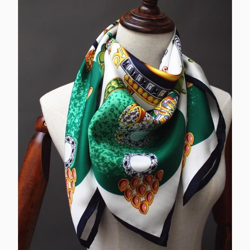 Fabulous Gemstone Printed Square Silk Scarf Women 90 100% Silk Twill Scarf Bandana Hijab Shawl Fashion Silk Scarves & Wraps