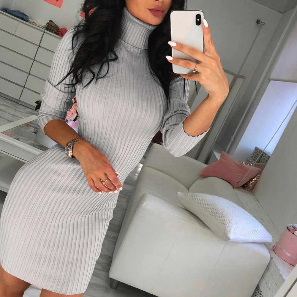 Winter Casual Solid Loose Mini Dresses Knitted Dress Women Turtleneck Long Sleeve Warm Sweater Dress Vestidos #H