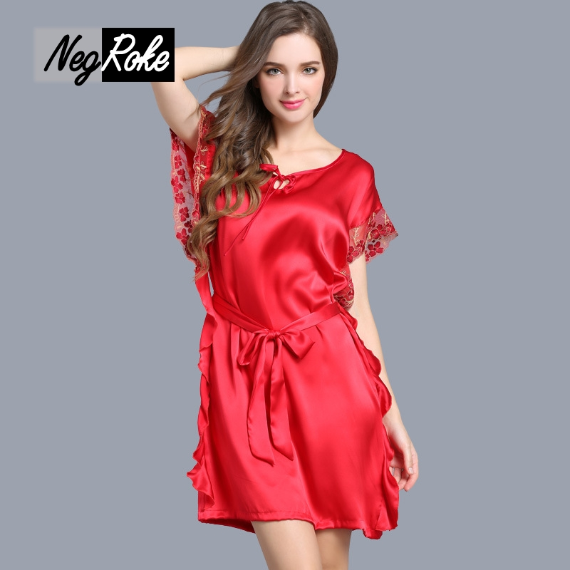 Summer 100% silk noble red sleepdress women nightgowns silk solid color short sleeve wedding nightdress for women sleepwear