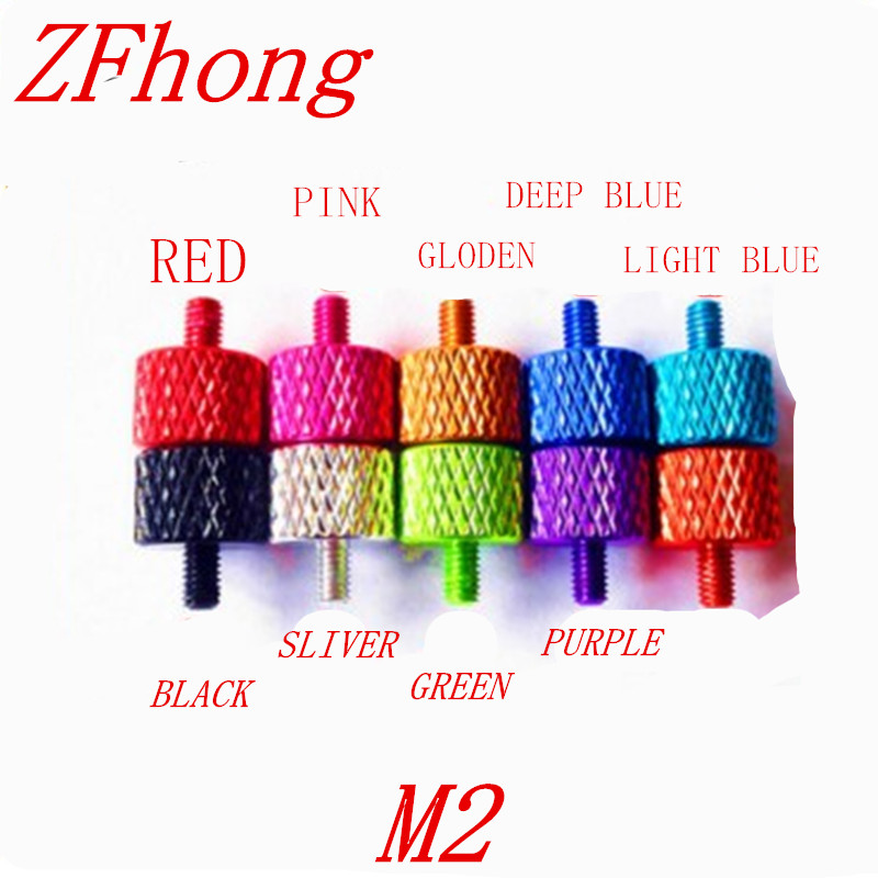 20pcs M2*4/8/12/15 Aluminum Alloy Colourful Flat Head Thumb Screw /Round Head Knurling Hand Twist Screw/Hand Tighten Screws 20pcs m3 6 m3 x 6mm aluminum anodized hex socket button head screw