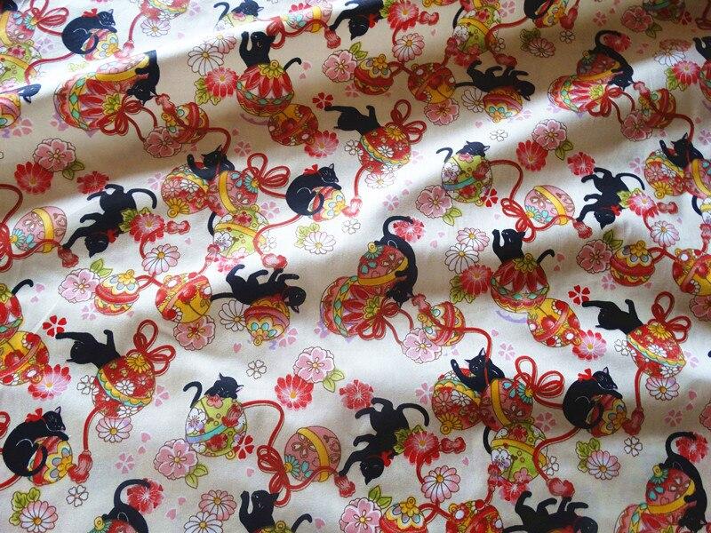 Half Meter Japanese Soft Breeze Cartoon Cat Printing Fabric Handmade DIY