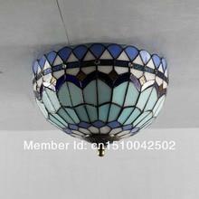Tiffany Glass Ceiling Mediterranean-style bedroom den Rose aisle lights DIA 40cm
