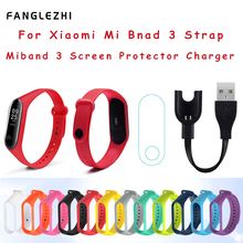 For Xiaomi Mi Band 3 Strap Miband Charger Screen Protector Silicone Wrist for Miband3 Bracelet Colorful