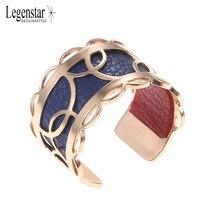 Legenstar-anillos de acero inoxidable para mujer, de tamaño reajustable de moda, Color oro rosa, cuero Reversible, joyería intercambiable