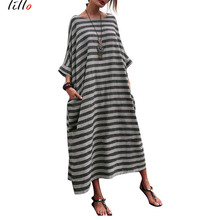 Plus size Casual African Women Loose Summer Dresses Fashion Oversized striped round neck pocket large loose dress