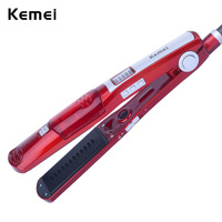 110 240V Kemei Pro Steam Flat Iron Hair Brush Straightener Comb Hair Straightener Ceramic Straightening Iron