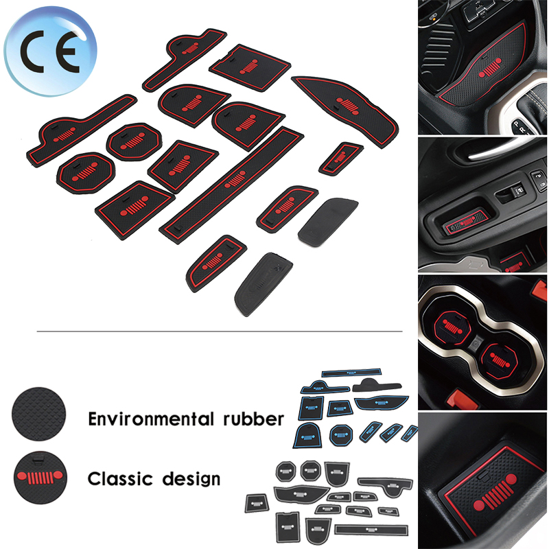 white Interior Door Mat Cup Pads Holder 15pcs For Jeep Grand Cherokee 2014-2016