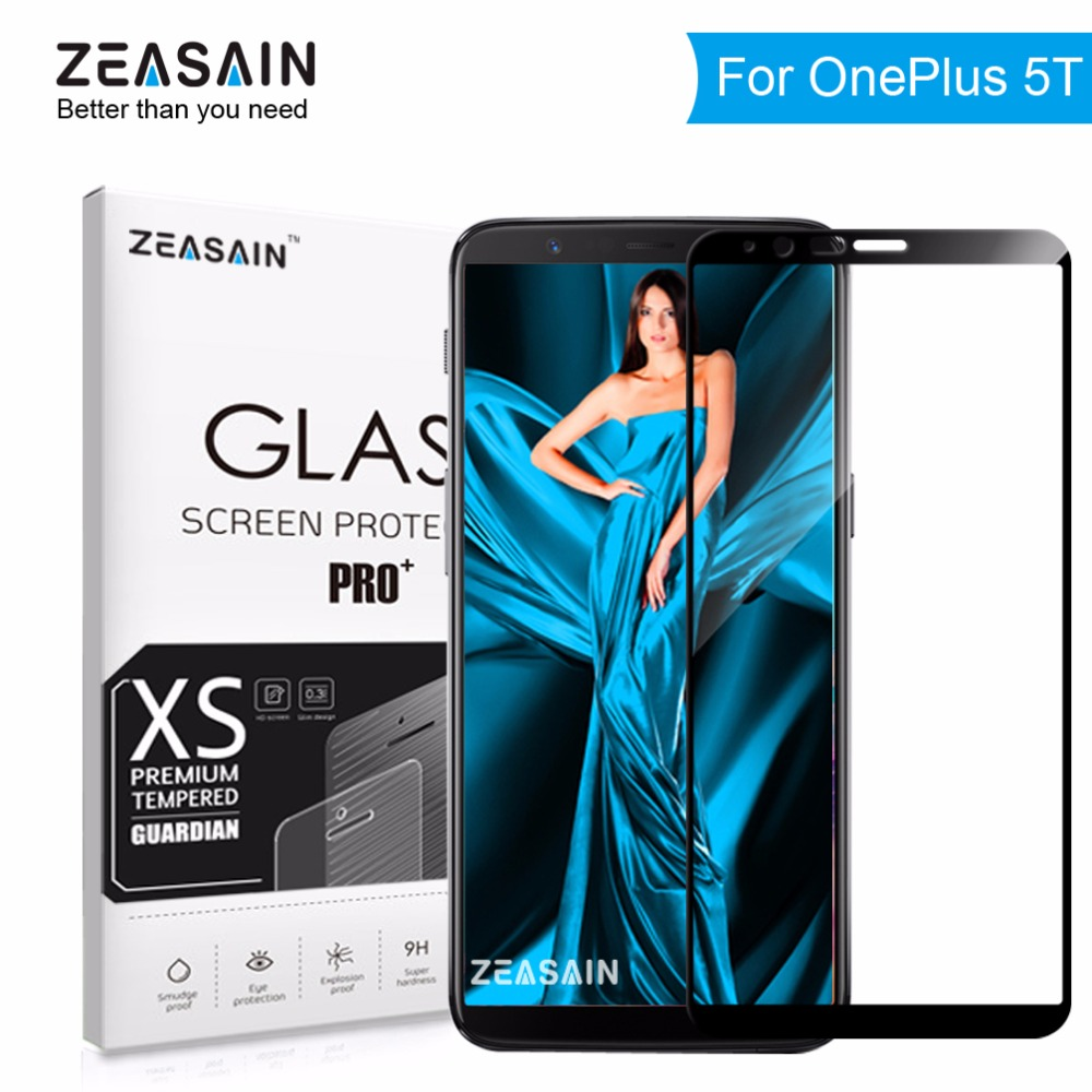 Original ZEASAIN 2.5D Full Cover Screen Protector Tempered Glass for OnePlus 5T OnePlus5T One Plus 5 T 9H Glass Safety Film