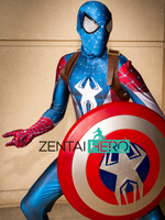 Free Shipping DHL 2017 Adult 3D Printing Captain America Spider Man Hybrid Superhero Costume Cosplay Zentai