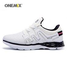 Onemix tênis de corrida dos homens sapatos de couro reflexivo masculino athletic shoes esportes leves tênis para correr ao ar livre de trekking