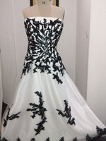Hot Sale Gothic Black And White Wedding Dresses 2015 Custom Made Plus Size Bridal Gowns