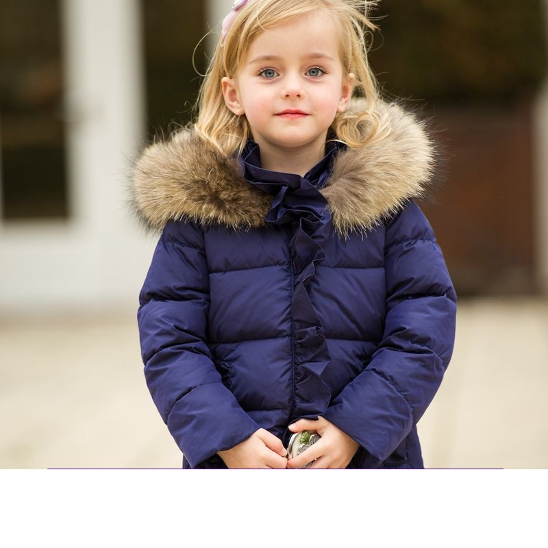 Girls Down Jacket  Kids Long Outerwear  Childrens High-quality Jacket  Russian Winter -30 Degr Windproof Thickening Coat Parka high quality children winter outerwear 2017 baby girls down coats jacket long style warm thickening kids outdoor snow proof coat