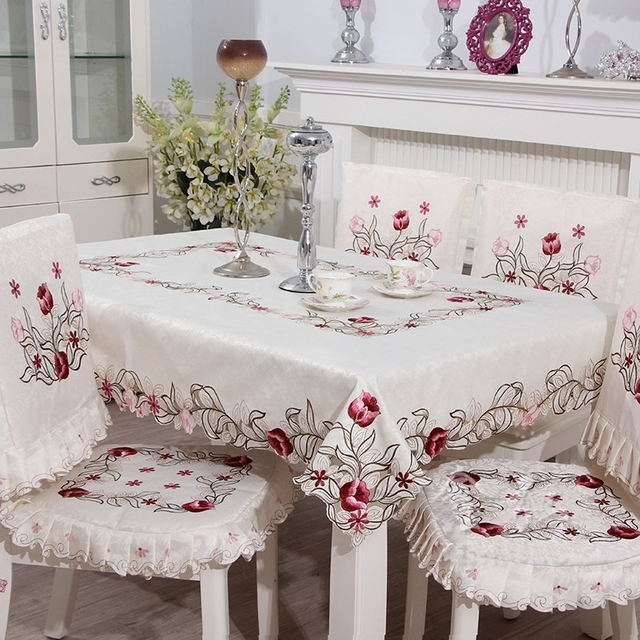 New Elegant Jacquard Embroidery Floral Tablecloths Tafelkleed Embroidered  Tulip Table Cloth Cover Towel Overlays Home Textiles