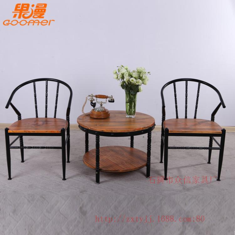 Wood Combo Chair: Retro Furniture Wood Coffee Table And Chairs Wrought Iron