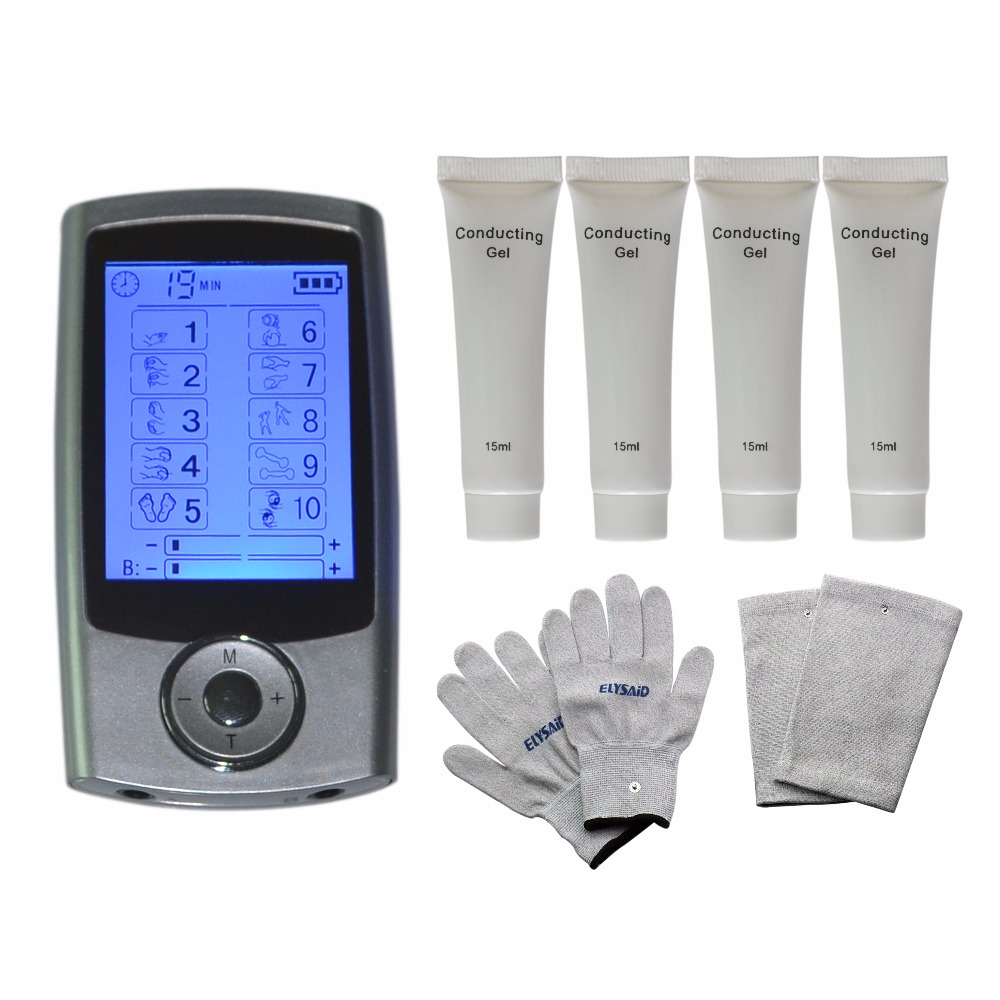 10Modes TENS Physiotherapy Healthcare Massager Muscle Relax Smoothing+1Pair Massage Gloves+1Pair Knee Pads+4Pcs Conducting Gels xft 320a electrical stimulator tens healthcare physiotherapy pains relax smoothing electrical massager physiotherapy knee pads