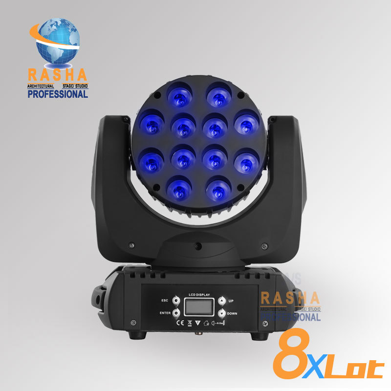 8pcs/LOTHot Sale12pcs*10W 4IN1 Cree RGBW LED Beam Moving Head Light With LCD Display,Stage Disco Party Moving Head Beam