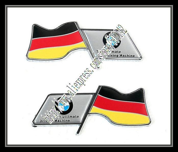 Free Shipping 1set Aluminum Car Emblem Italy German Flag