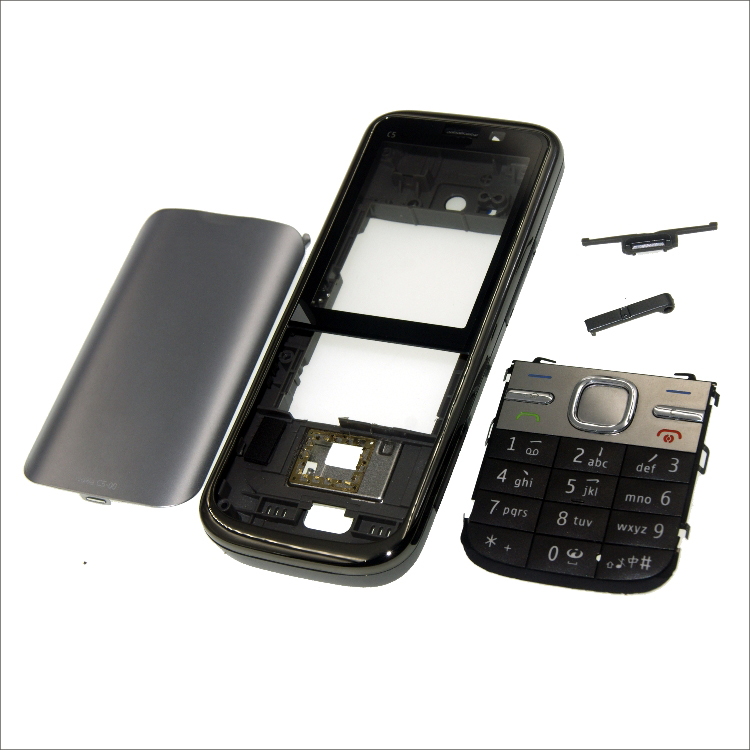 Complete front cover <font><b>C5</b></font> keyboard for <font><b>Nokia</b></font> <font><b>C5</b></font>-00 battery back cover High quality <font><b>housing</b></font>+Keypad image