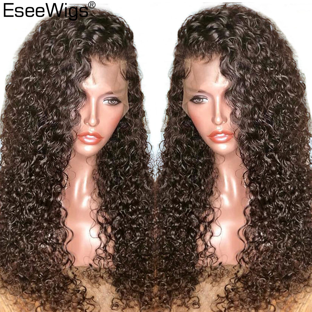 Eseewigs 360 Lace Frontal Wig Human Curly Pre Plucked With Baby Hair Glueless 180 Density 360 Lace Front Remy Human Hair Wigs